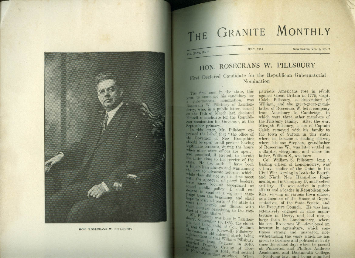 GRANITE MONTHLY Rosecrans Pillsbury Hannah Duston Wonolancet 7 1914