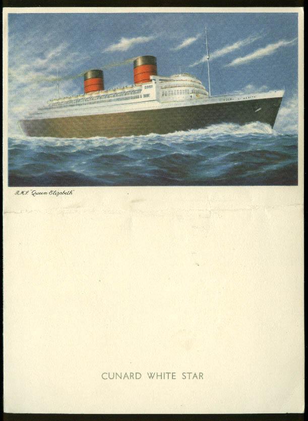 Cunard White Star R M S Queen Elizabeth Farewell Dinner Menu 8/17 1953