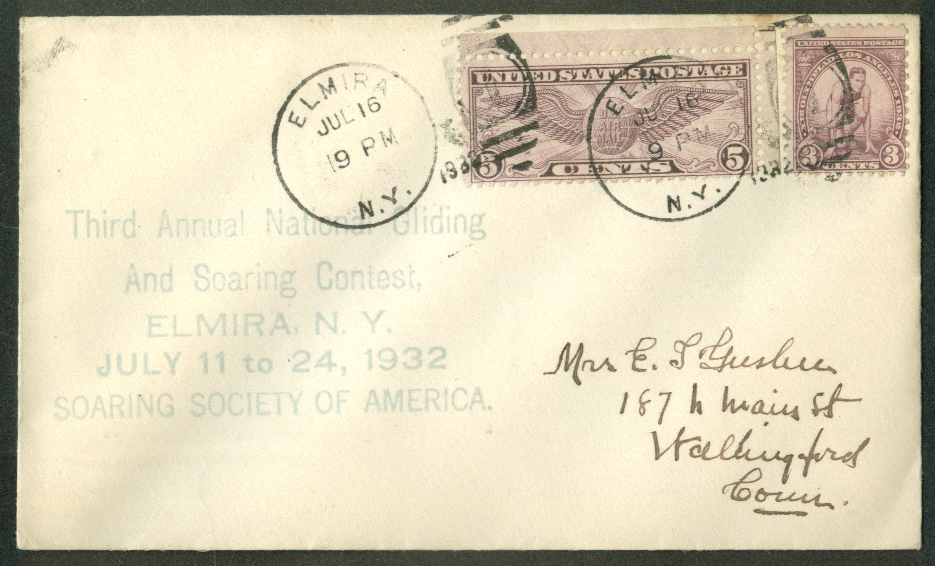 3rd Annual National Gliding & Soaring Contest Elmira NY postal cover 1932