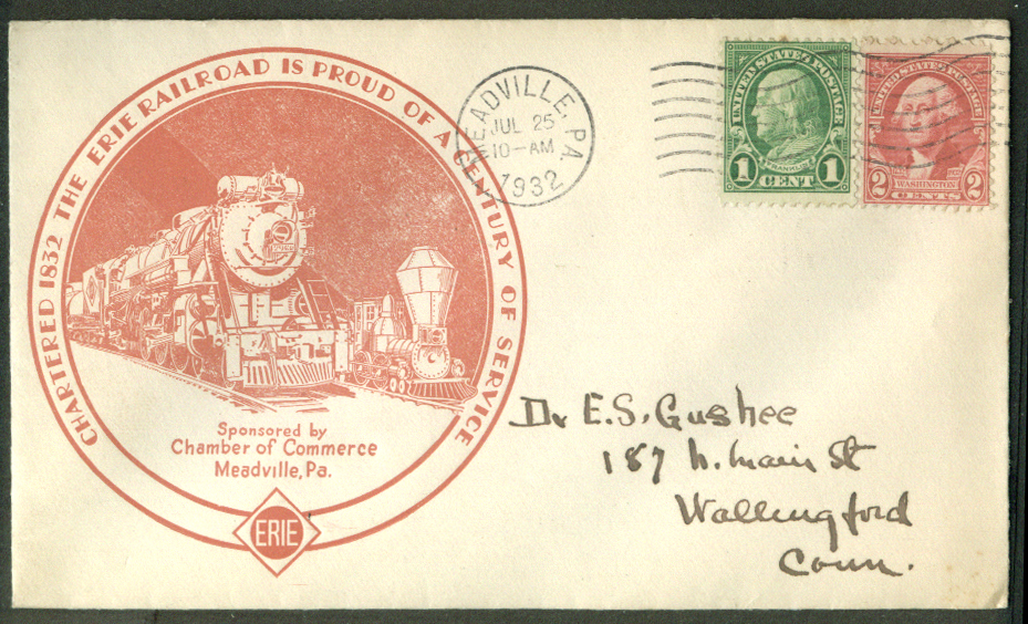 Erie Railroad Century of Service Meadville PA postal cover 1932