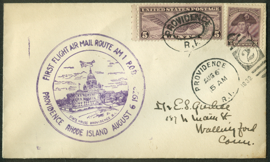 First Air Mail Flight Route AM 1 Providence RI postal cover 1932