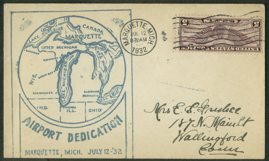 Airport Dedication Marquette MI Air Mail postal cover 1932 stamp inverted