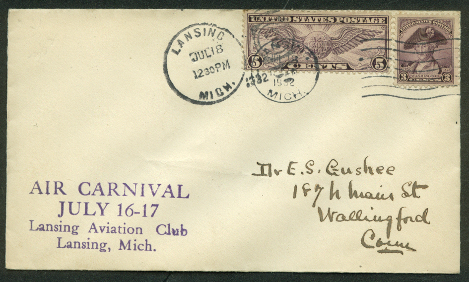 Image for Lansing Aviation Club Air Carnival air mail postal cover 1932 MI