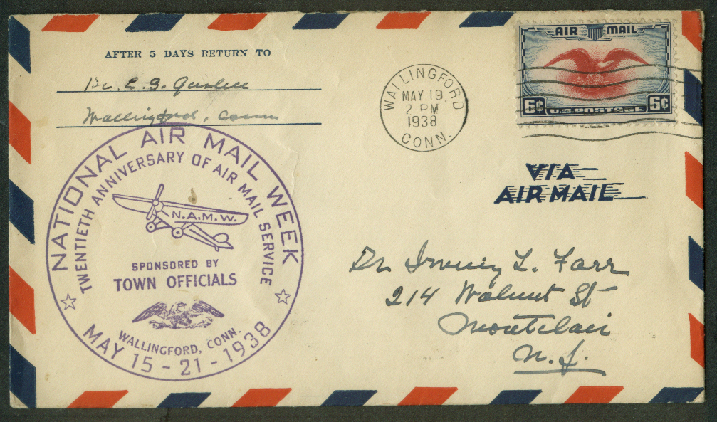 Image for National Air Mail Week 20th Anniversary Wallingford CT postal cover 1938