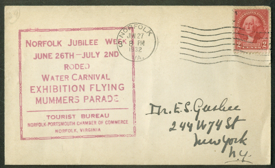 Image for Norfolk VA Jubilee Exhibition Flying Rodeo Water Carnival postal cover 1932