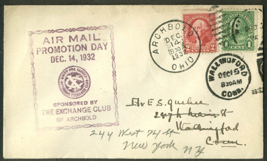 Air Mail Promotion Day Archbold Exchange Club OH postal cover 1932