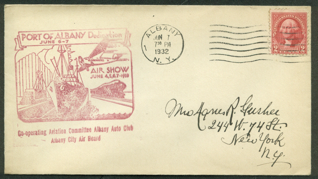 Image for Port of Albany Dedication Air Show postal cover 1932 NY