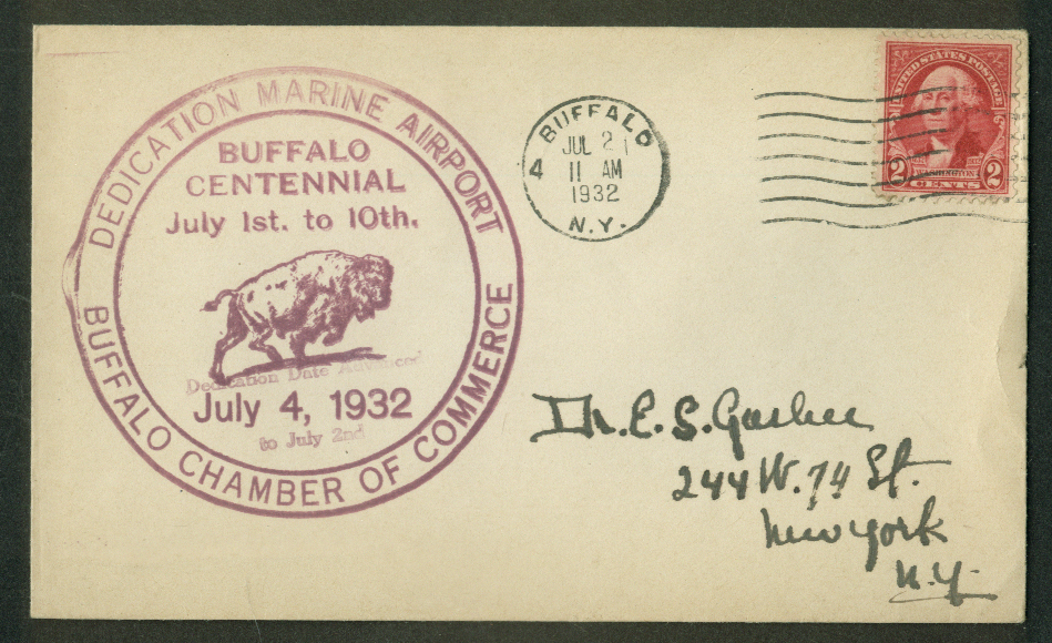 Buffalo Centennial Marine Airport Dedication postal cover 1932 NY