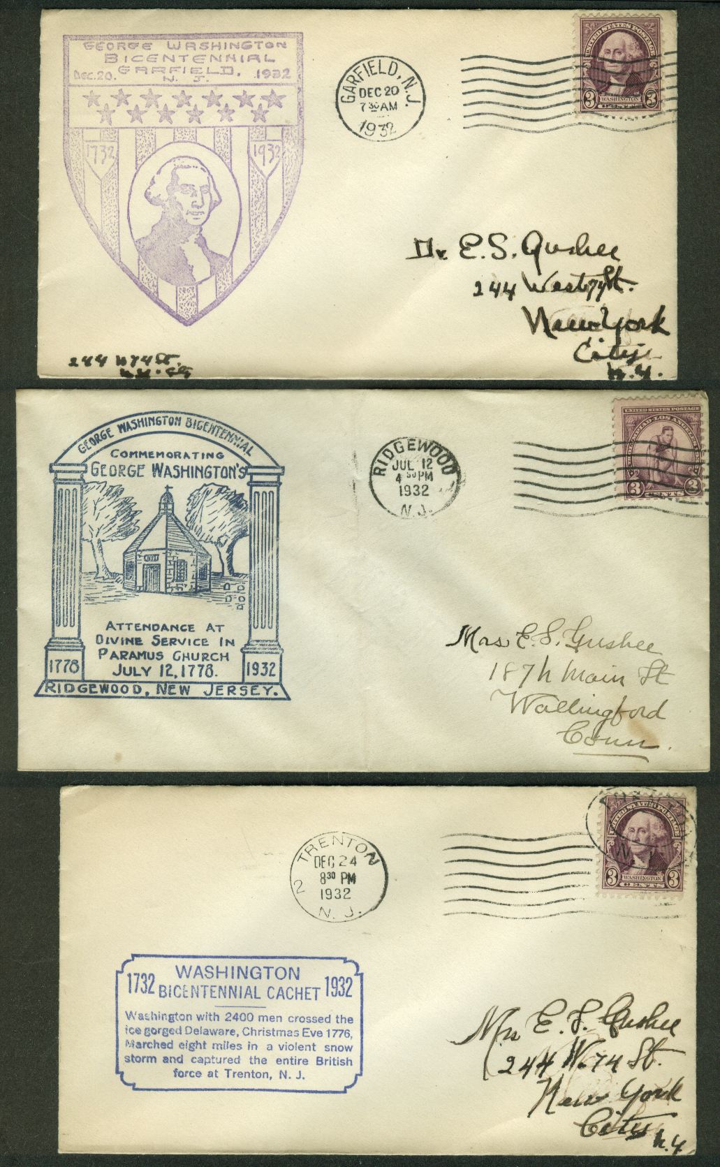 George Washington Bicentennial 1932 postal covers New Jersey lot of THREE #1