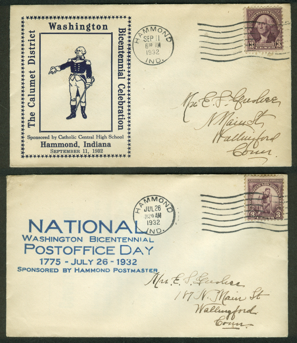 George Washington Bicentennial 1932 postal covers Hammond Indiana Lot of TWO