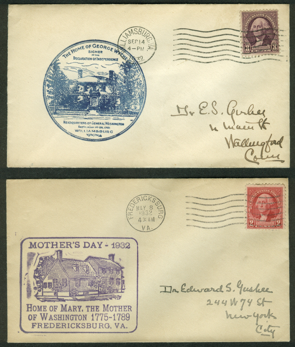 George Washington Bicentennial 1932 postal covers Virginia Lot of TWO