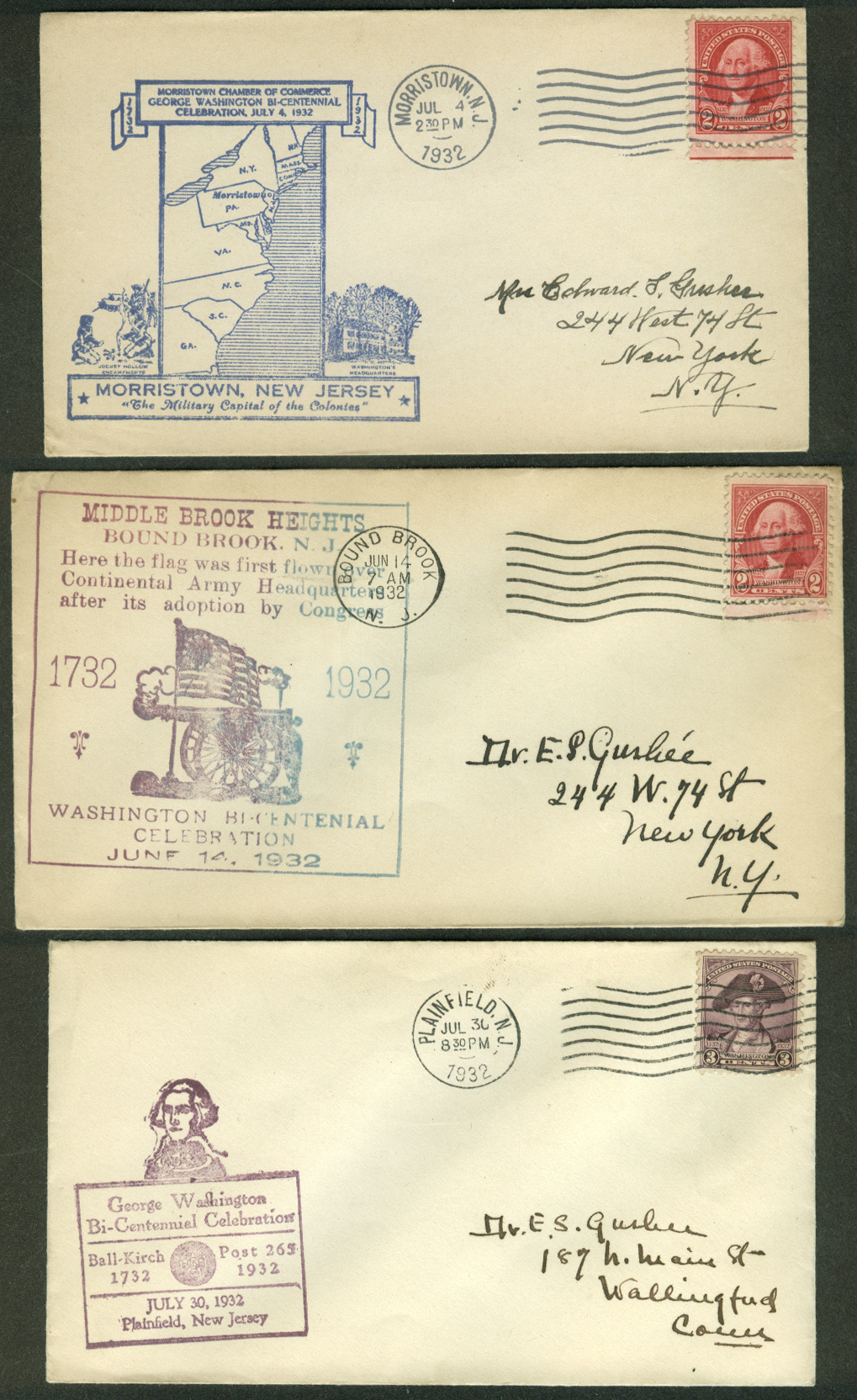 George Washington Bicentennial 1932 postal covers New Jersey Lot of THREE #2