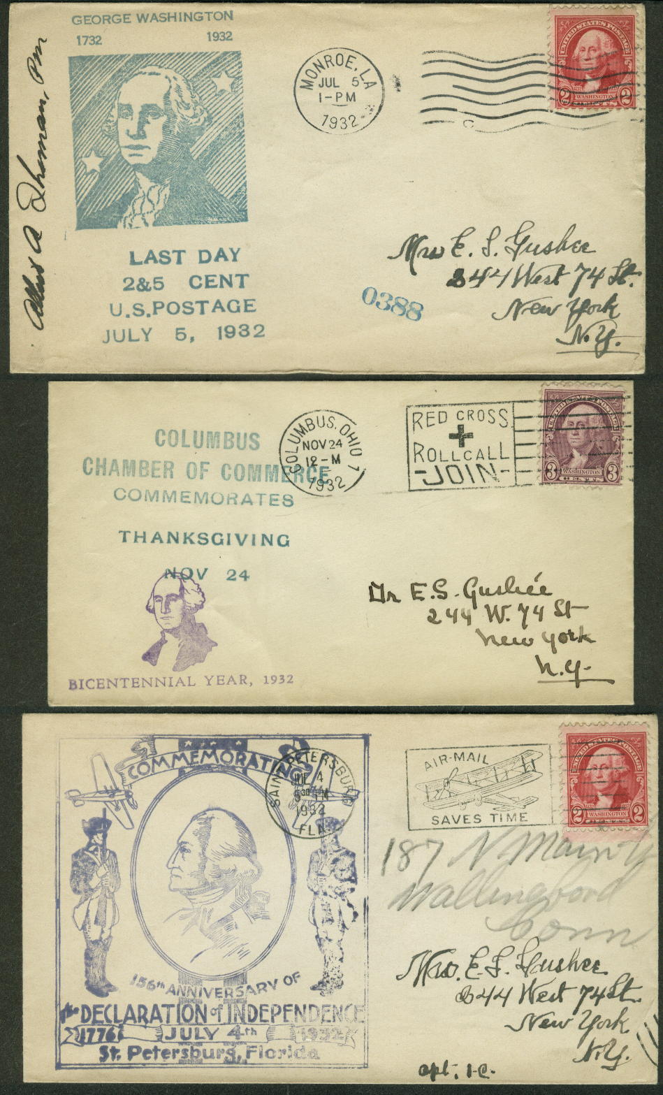 George Washington Bicentennial 1932 postal covers Ohio Louisiana Florida