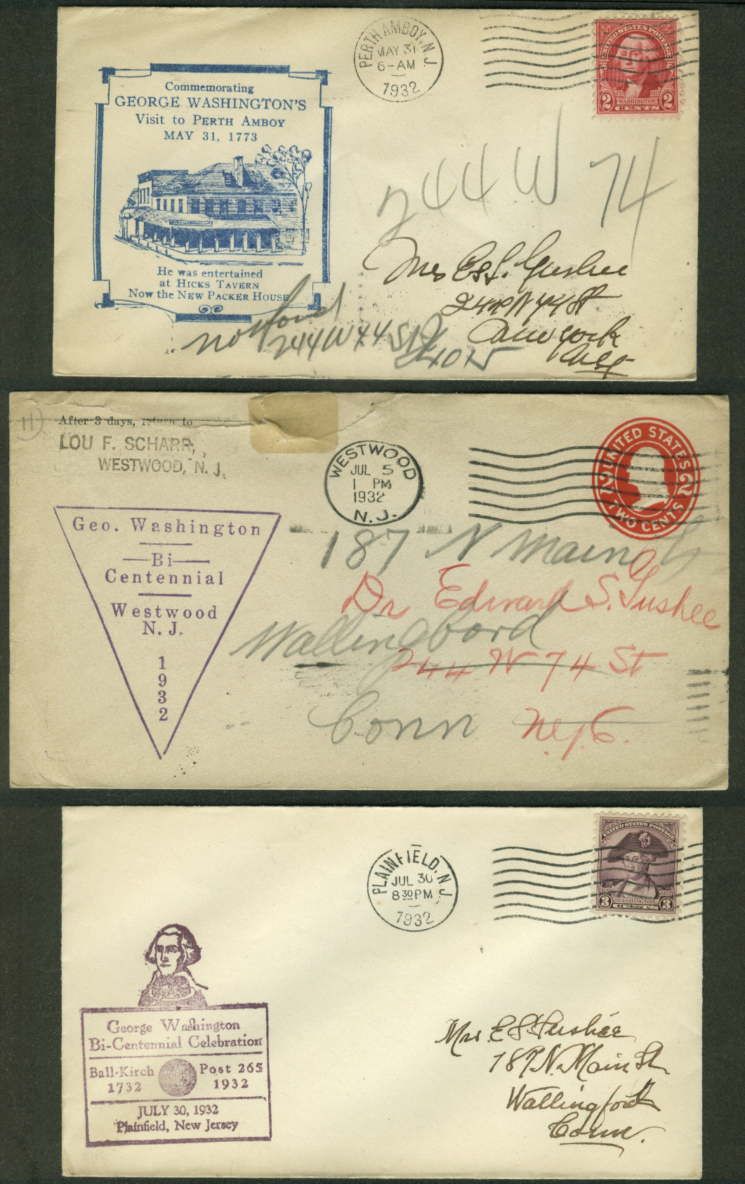 George Washington Bicentennial 1932 postal covers New Jersey Lot of THREE #3