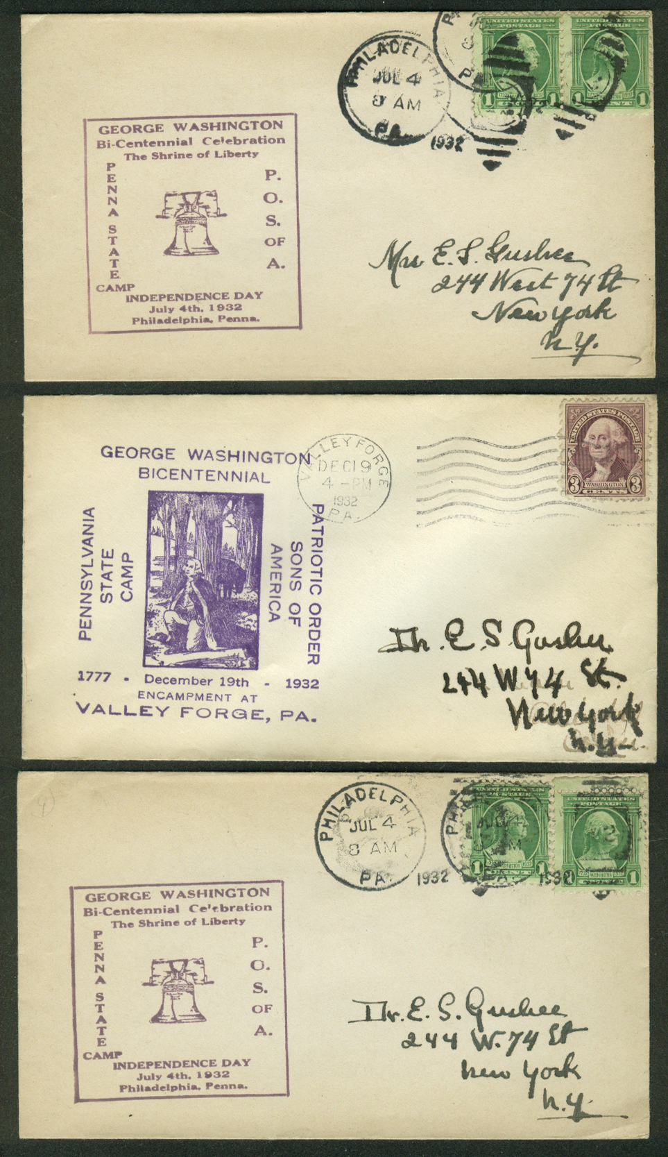 George Washington Bicentennial 1932 postal covers Pennsylvania Lot of THREE