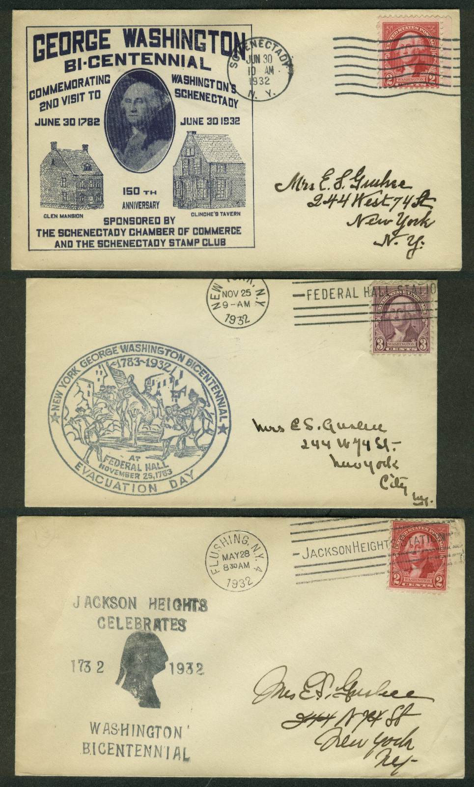 George Washington Bicentennial 1932 postal covers New York Lot of THREE