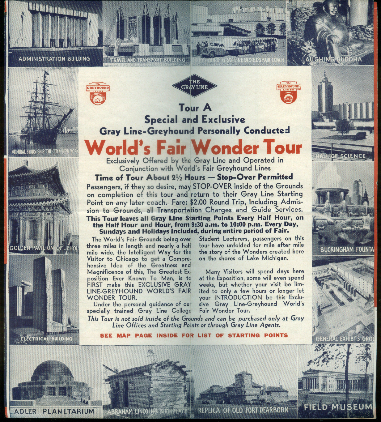 Image for Gray Line Official Chicago & Century of Progress Sightseeing Map 1933