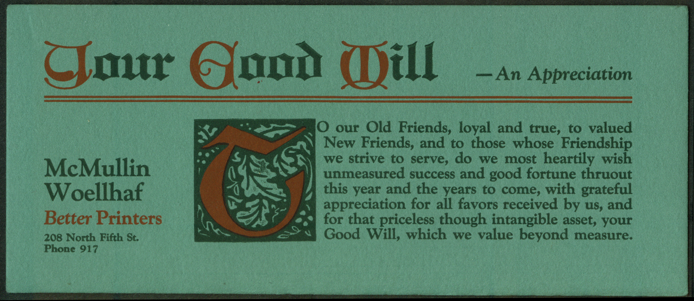 McMullin Woellhaf Printers Your Good Will blotter Burlington IA 1930s