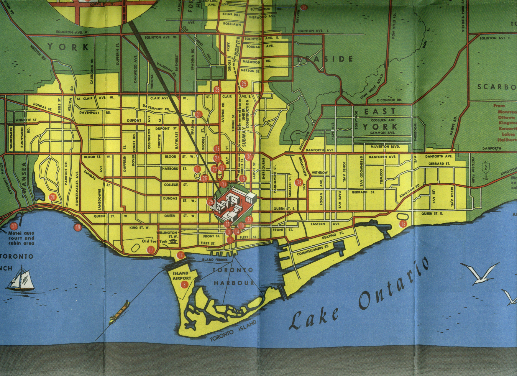 Eaton's Department Store Visitors Map of Toronto 1953