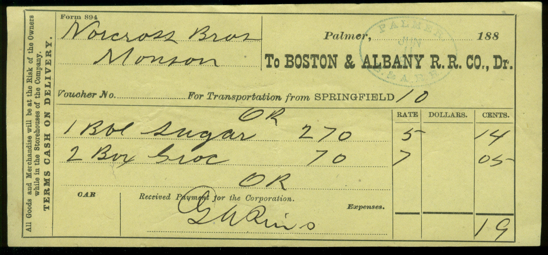 Boston & Albany RR Voucher for Transportation of Goods Palmer MA 1887