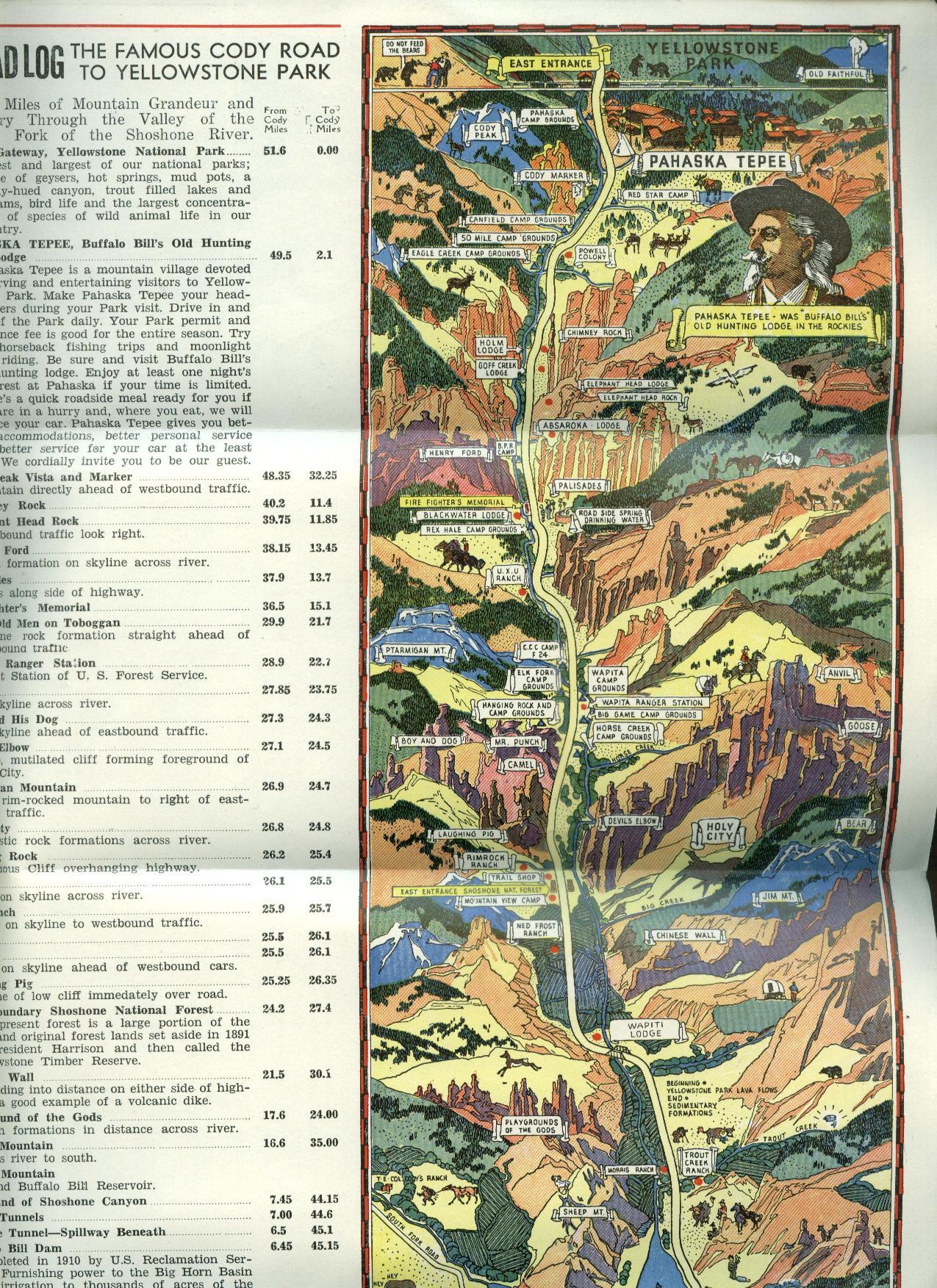 Pahaska Tepee Buffalo Bill's Hunting Lodge folder Yellowstone Park 1930s