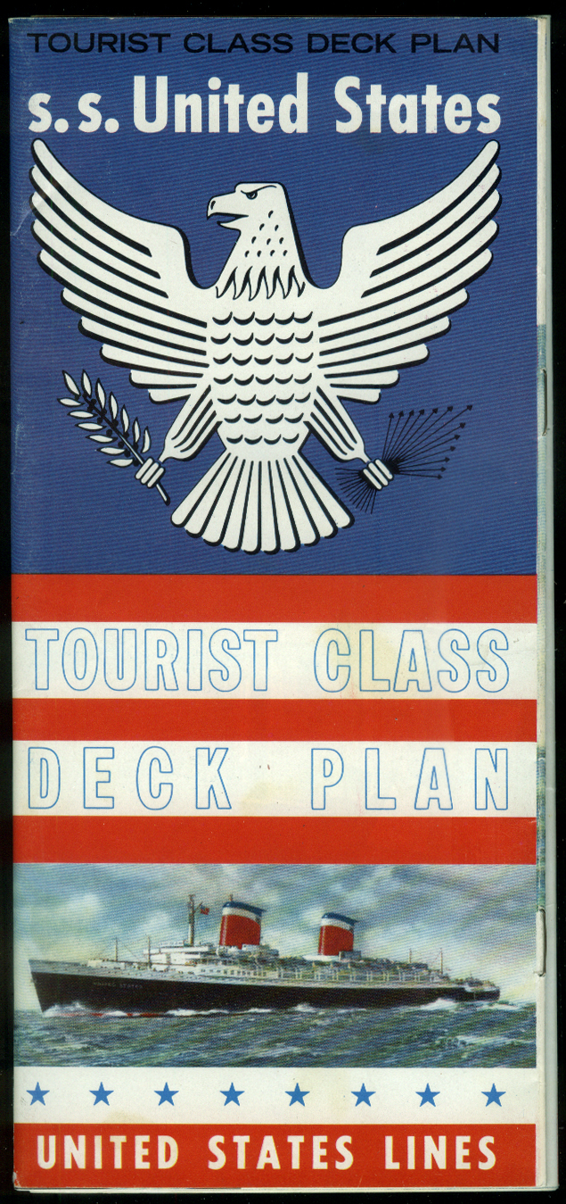United States Lines S S United States Tourist Class Deck Plan 1960s