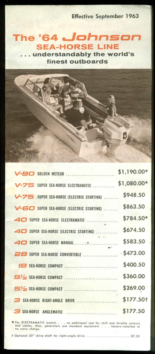 Johnson Sea-Horse Outboard Motor illustrated price list folder 1964