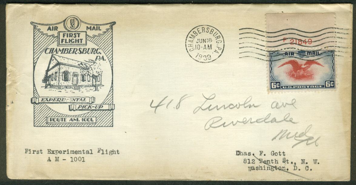 Chambersburg PA Experimental 1st Flight Air Mail Pickup postal cover 1939