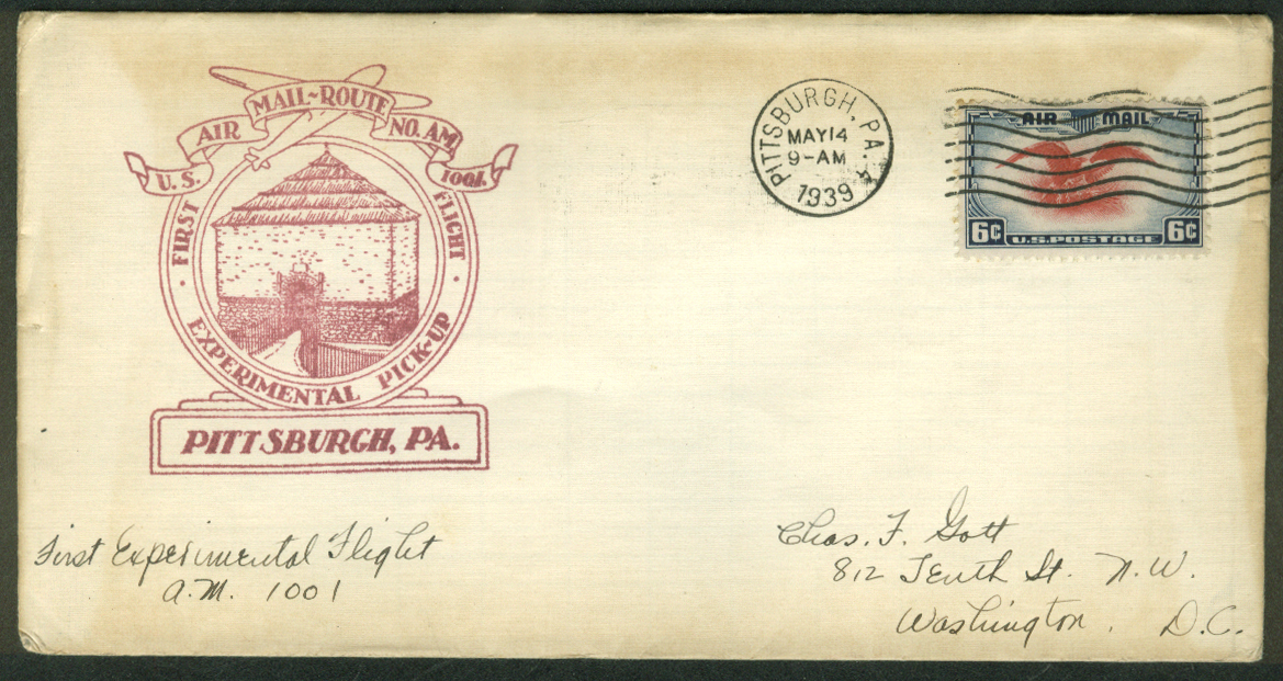 Pittsburgh PA Experimental 1st Flight Air Mail Pickup postal cover 1939