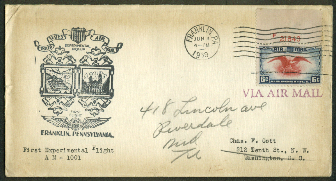 Franklin PA Experimental 1st Flight Air Mail Pickup postal cover 1939