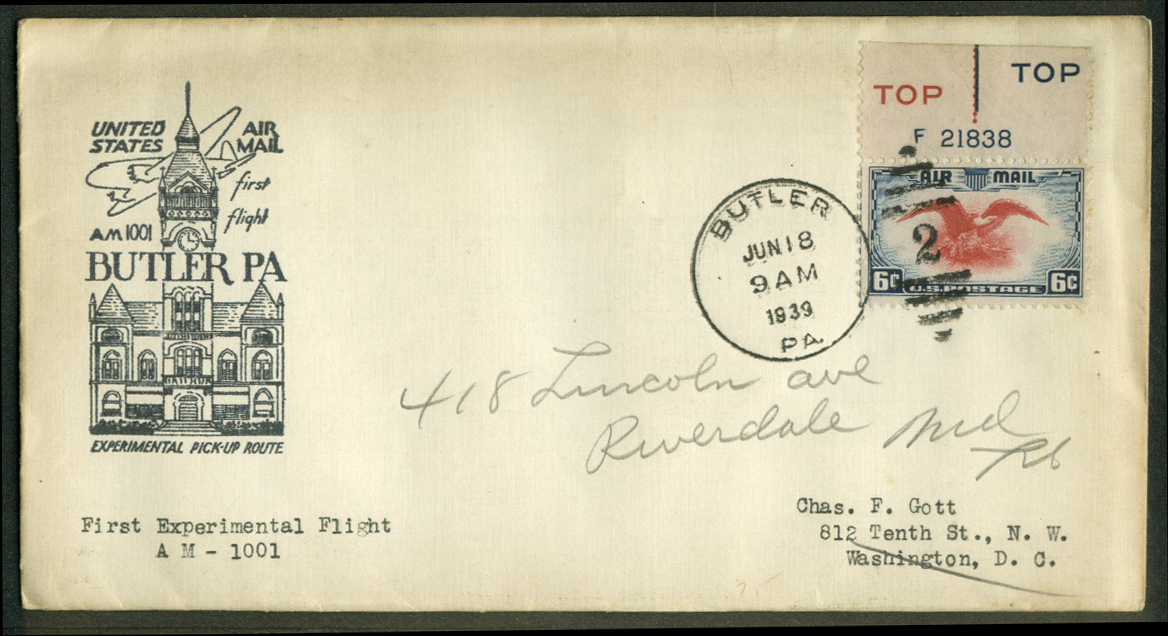 Butler PA Experimental 1st Flight Air Mail Pickup postal cover 1939