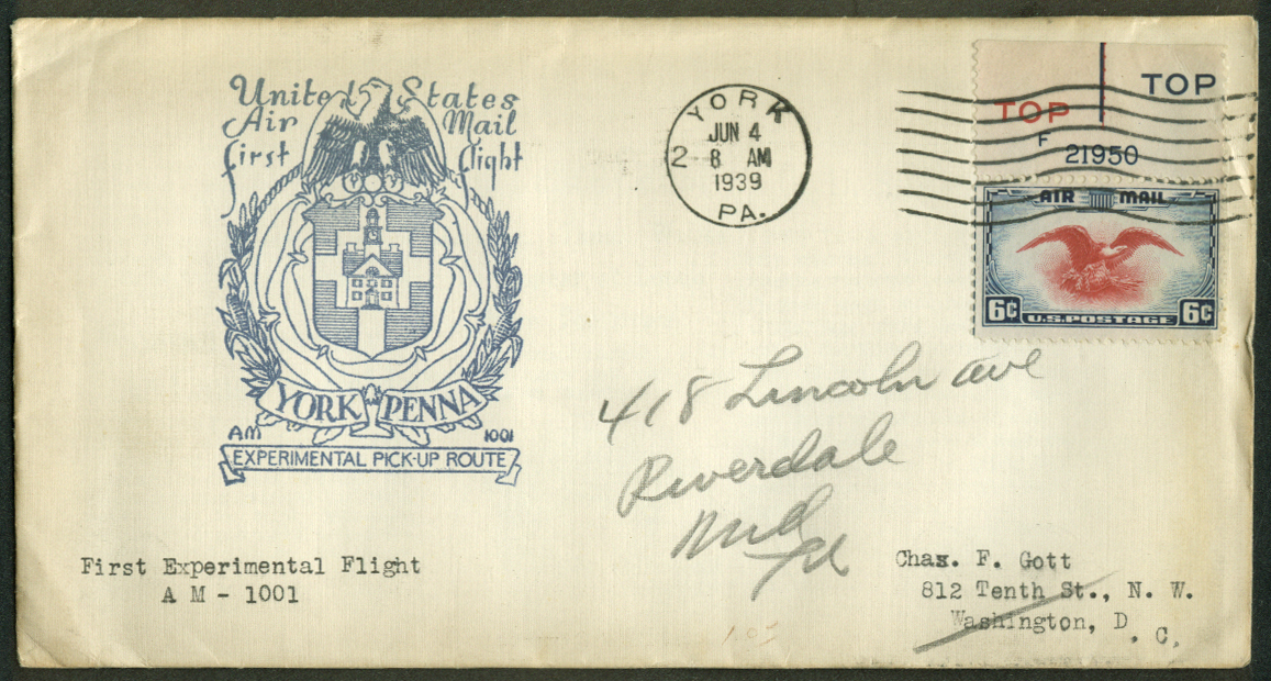 York PA Experimental 1st Flight Air Mail Pickup postal cover 1939