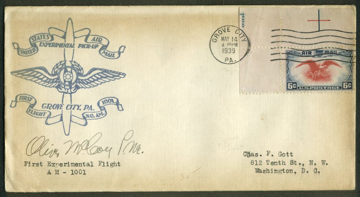 Grove City PA Experimental 1st Flight Air Mail Pickup postal cover 1939