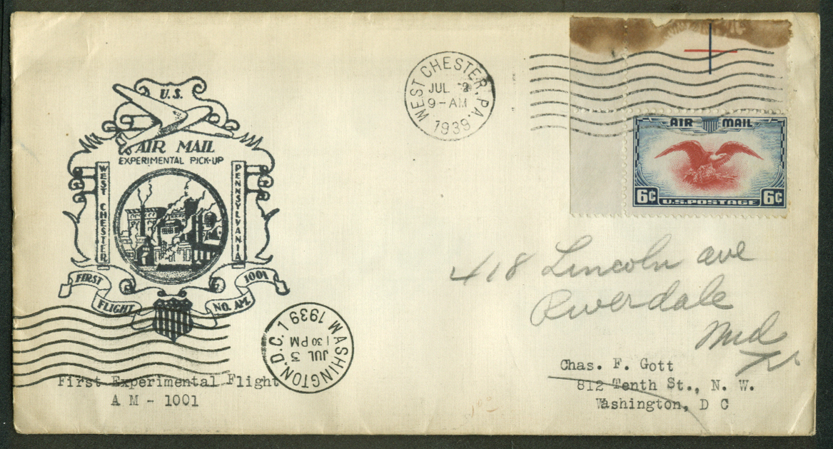 West Chester PA Experimental 1st Flight Air Mail Pickup postal cover 1939