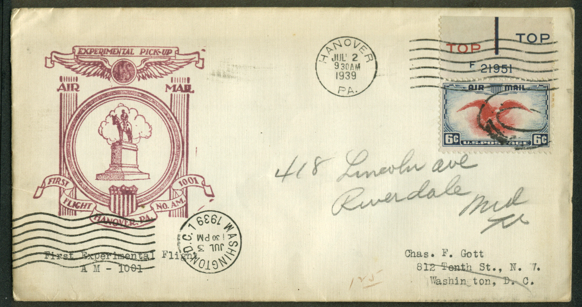 Hanover PA Experimental 1st Flight Air Mail Pickup postal cover 1939