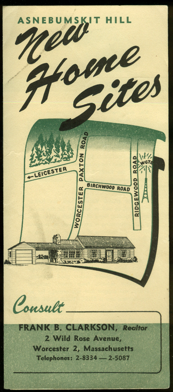 Asnebumskit Hill New Home Sites folder Worcester MA 1950s