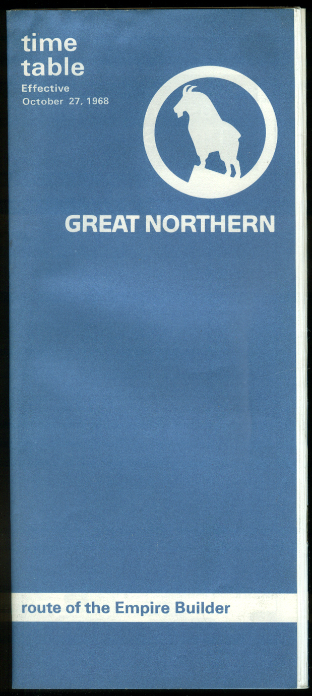 Great Northern Railway Time Table 10/27 1968