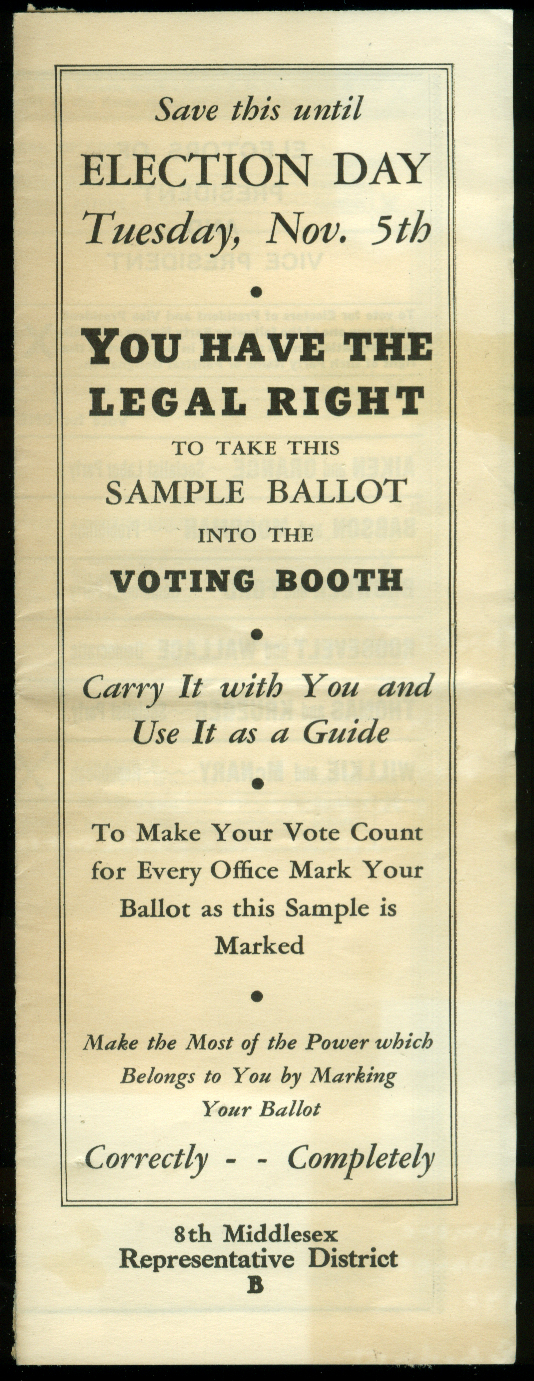 Republican Election Sample Ballot Massachusetts & Presidential 1940 FDR Willkie