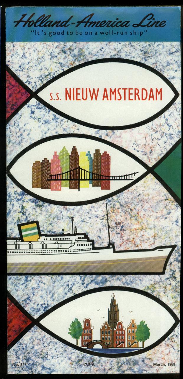 Holland-America Line S S Nieuw Amsterdam folder 1968