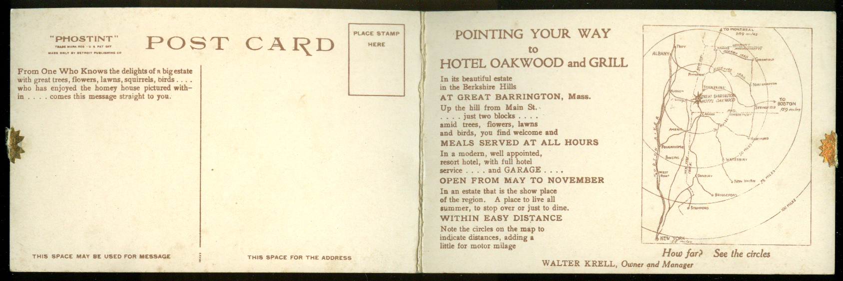 Hotel Oakwood Great Barrington MA oversize folding postcard ca 1910