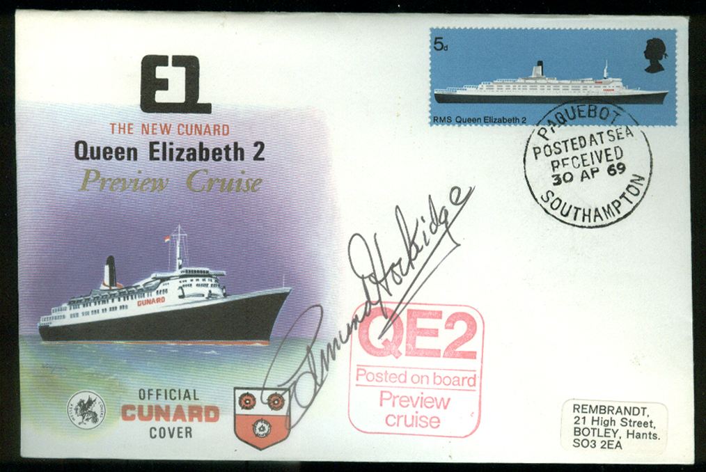 Cunard Queen Elizabeth 2 Preview Cruise postal cover 1969 Edmund Hockridge Auto