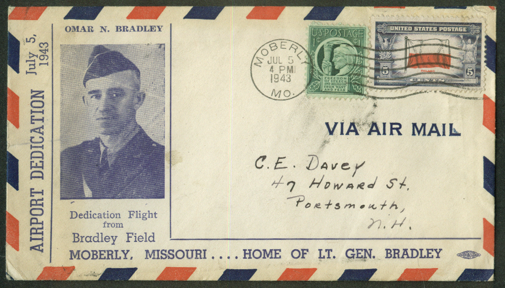 Airport Dedication postal cover 1943 Omar N Bradley Field to Moberly MO