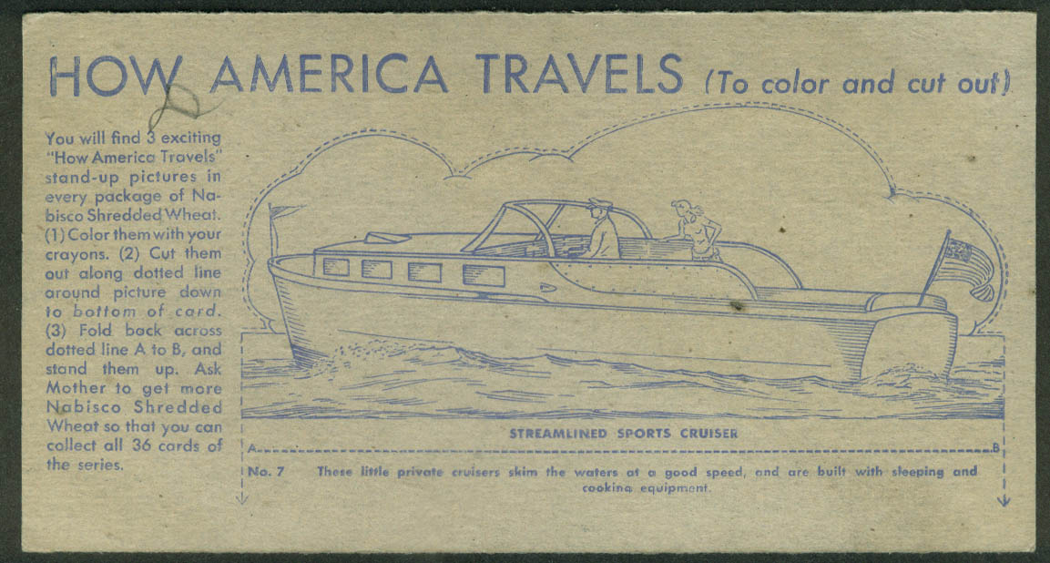 Nabisco Shredded Wheat Card How America Travels 1942 Streamlined Sports Cruiser