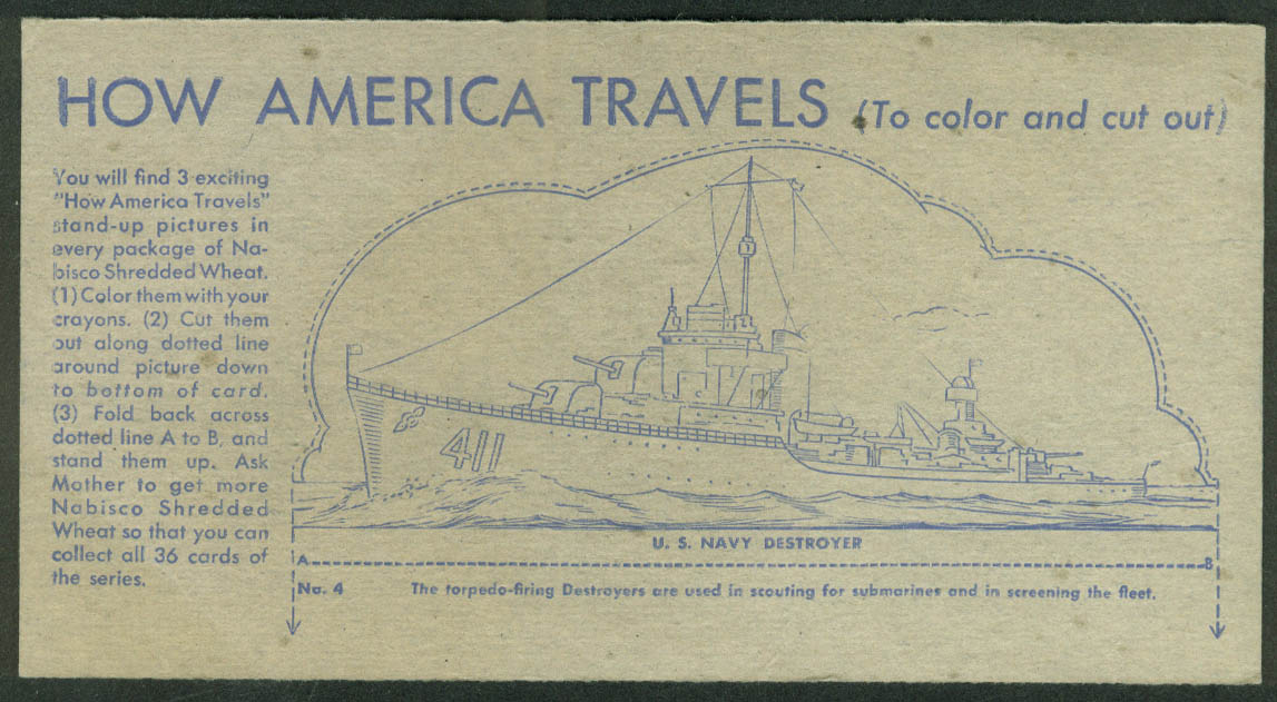 Nabisco Shredded Wheat Card How America Travels 1942 US Navy Destroyer