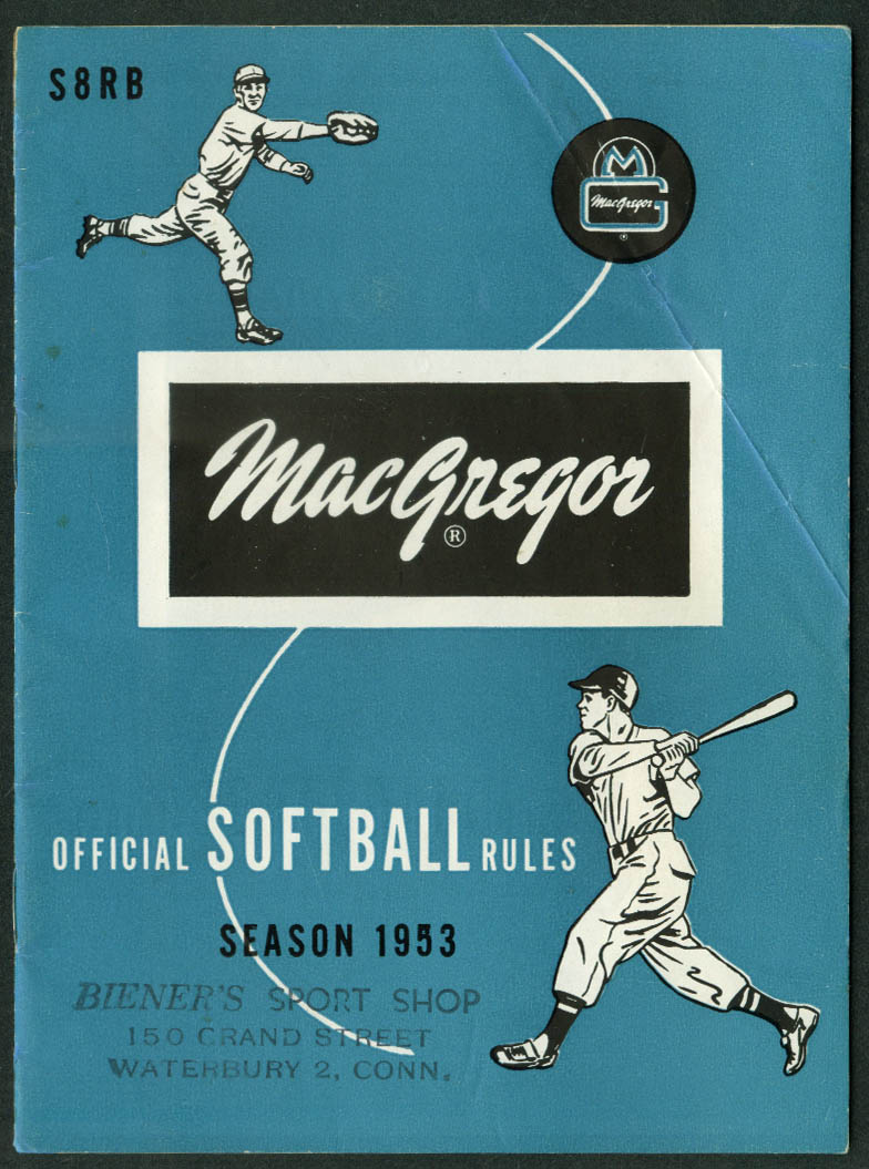 MacGregor Official Softball Rules Season of 1953