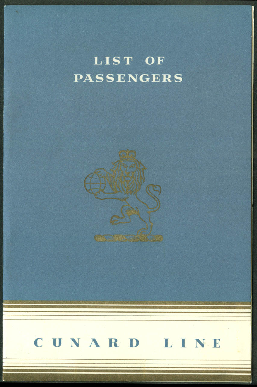 Cunard White Star R M S Queen Elizabeth Passenger List Tourist UK-NY 7/21 1951