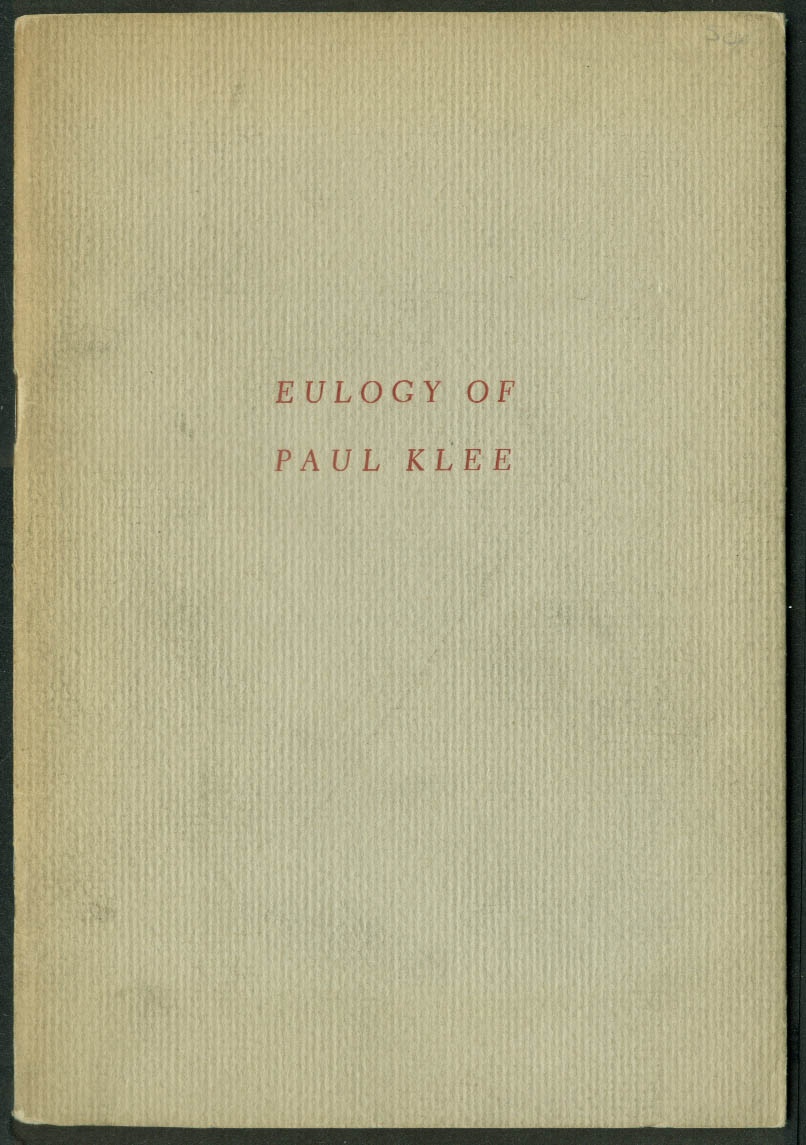 Andre Masson: Eulogy of Paul Klee: Curt Valentin 1950 1/1500 Xmas Keepsake
