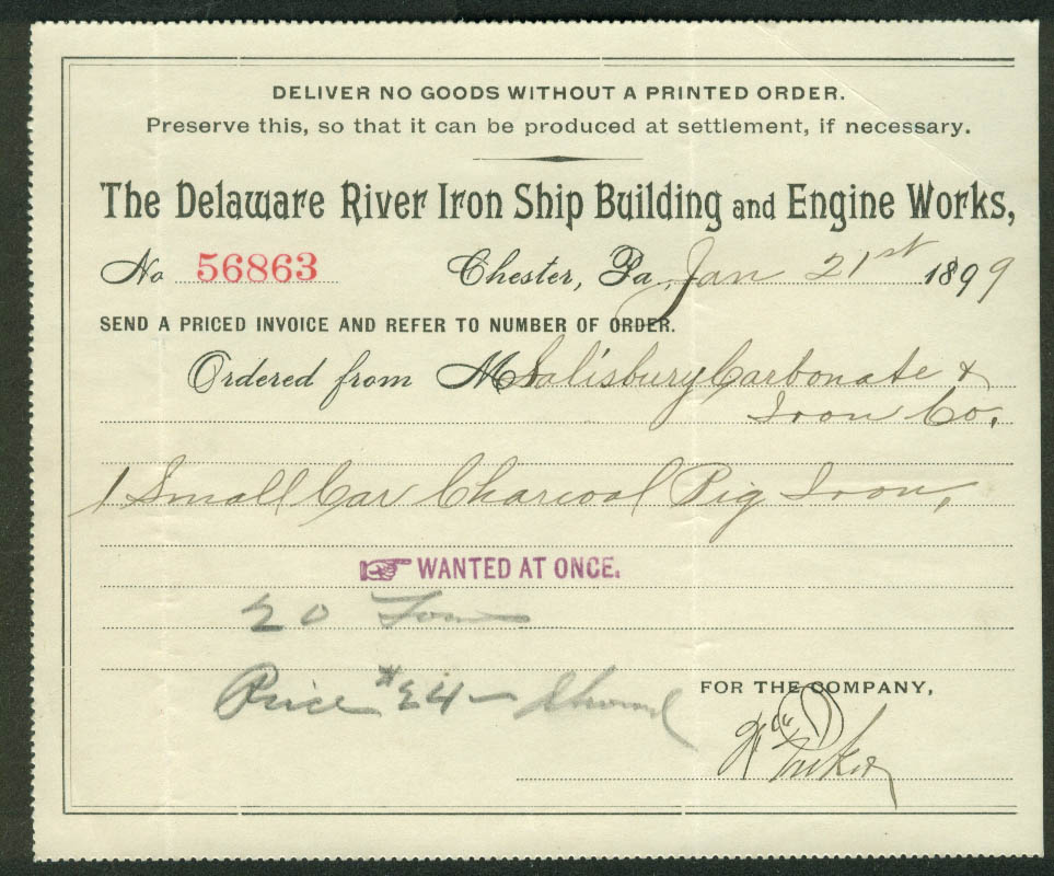 Delaware River Iron Ship Building & Engine Works Purchase Order 1899