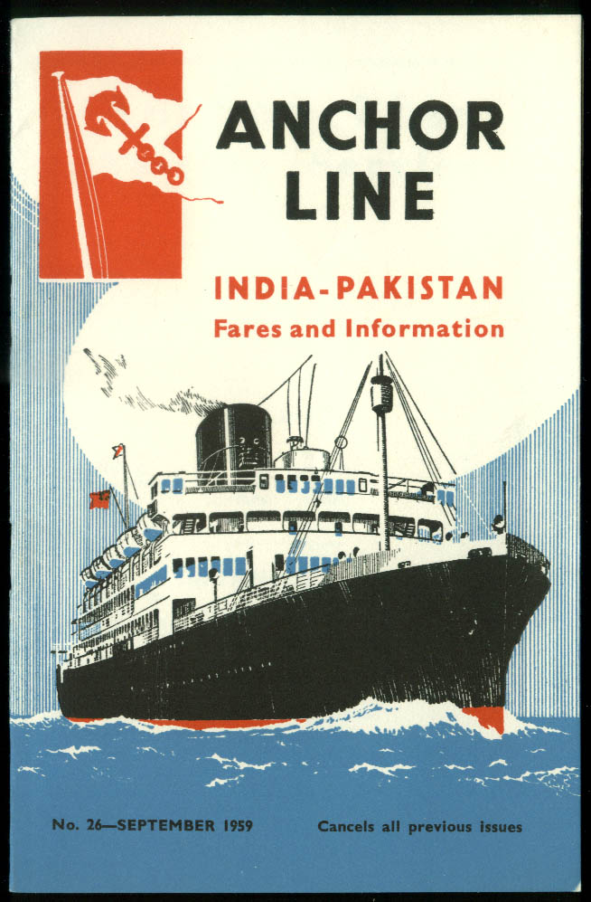 Anchor Line India-Pakistan Fares & Information 9 1959