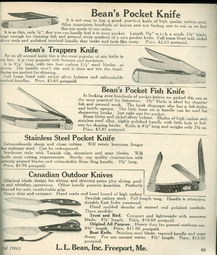 L L Bean Catalog Fall 1966 hunting fishing outdoor tents +
